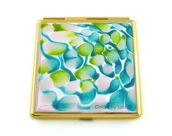 Square Compact Mirror Hand Painted Enamel White Green and Turquoise with Personalized and Color Options