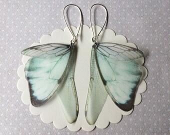 Handmade Butterfly Dragonfly Cicada Wings Earrings in Silk Organza - Like Glass Earrings - One of a Kind - Ready to Ship