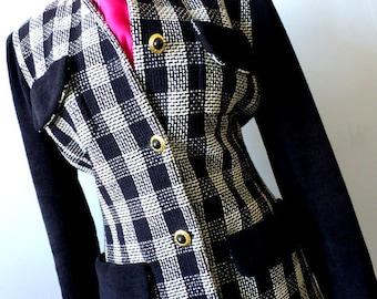 Ladies Designer 2pc Jacket Skirt Suit - Size Small - Vintage 90s 2pc Suit -Ports International Black and White Check Skirt Suit Euro Chic