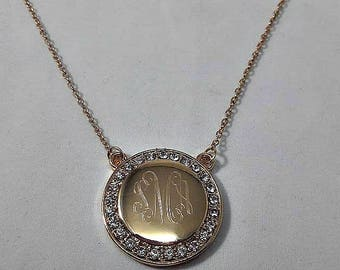 Personalized Engraved Monogrammed Round Necklace with Rhinestone CZ Border; Bridesmaid Gift; Gift for Mom; Gift for Bride; Engagement Gift