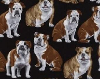 Bulldogs on Black Fabric / Bulldog Fabric / Timeless Treasures c4891 /Dog Fabric / Fat Quarter and Yardage / bulldogs by the yard