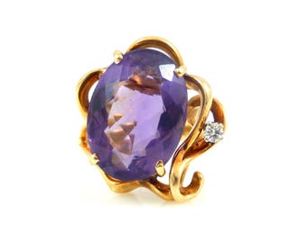 Large Faceted Amethyst & Diamond Ring - X4358