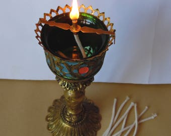 Old Russian Orthodox Icon Sanctuary lamp Bronze + Glass and Set of wicks