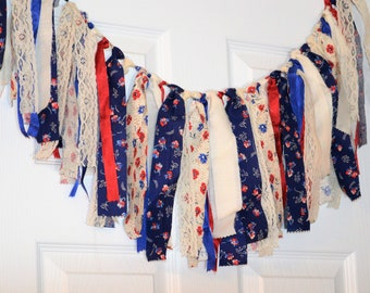 Memorial Day Calico Americana Rag Tie Garland, Country Floral Red White and Blue Garland, Primitive Holiday Curtain,Patriotic Picnic Banner