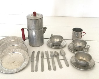 Vintage metal child dish set -tin -antique toy -play house- play kitchen -silver -coffee pot - silverware