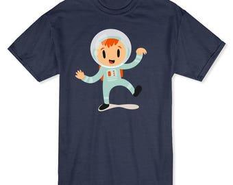 Cute Cartoon Girl In An Astronaut Costume Men's Navy Heather Halloween T-shirt