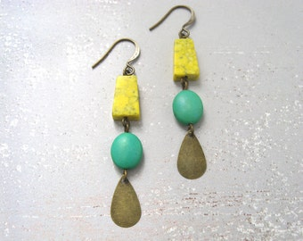Succulent earrings - antiqued brass finished metal, chalk turquoise yellow and green beads, metal teardrop charm earrings
