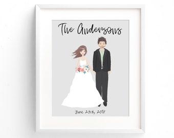 Custom Family Portrait, Wedding Shower Gift, Family Portrait Illustration, Wedding Portrait, Custom Wedding Gift, First Anniversary Gift Her