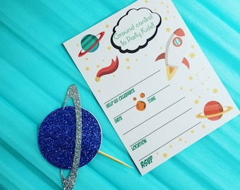 Space Birthday Invitations, Blank Invitations, Outer Space, Rockets, Cup Cake Toppers, Planets, Party Props