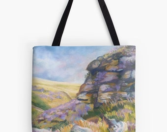 """Yorkshire Moors Landscape Scenery Tote Bag - Artist's Pastel Painting Design. Two Sizes Available Medium 16"""" and Large 18"""""""