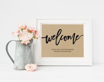 Wedding Sign Template | Guestbook Welcome Sign | Wedding Sign | Printable Wedding Sign | 5x7 & 8x10 | EDN 5480