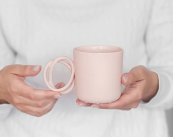 Porcelain mug TWIST cup pink porcelain china cup handmade by ENDE