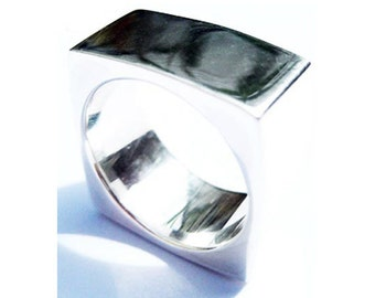 Chunky Silver Ring Square Sterling Wide Statement Rings Fashion Jewelry Trends