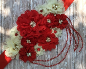 Red and Ivory Flower Maternity Sash, Shabby Chic Pregnancy Sash, Bridal Sash, Baby Shower Gift, Baby, Bump, Belly, Band, Belt Maternity Sash