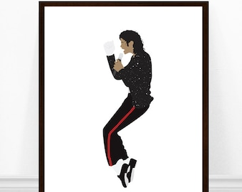 Michael Jackson Art Print, Michael Jackson Poster, Minimalist Portrait Art, Michael Jackson Illustration, 1980s Music Print