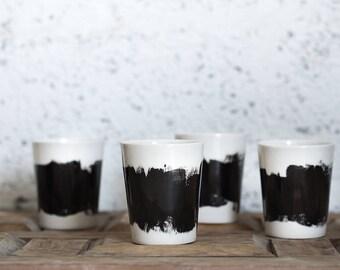 Ceramic Cups Set, Unique Ceramic Coffee Mugs Set, Ceramic Espresso Mug, Black And White Cup, Urban Kitchen, Kitchen Decor Gift