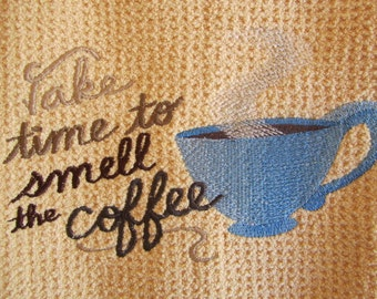 Take Time To Smell the Coffee (Butter) - Microfiber Waffle Weave Kitchen Hand Towel