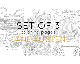 ON SALE Literary Coloring Pages - Jane Austen - adult coloring - set of three