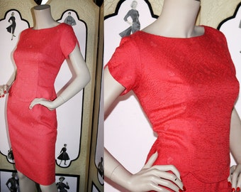 60's Soutache' Wiggle Dress in Coral. Small.