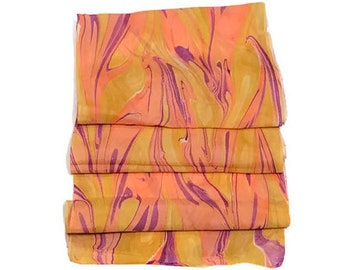 """Double Dipped One-of-a-kind Handmade Marbled Silk Scarf 11""""x60"""" - Betty Jo"""