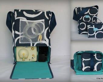Half size Alana style Breast Pump Bag in Navy White circles print