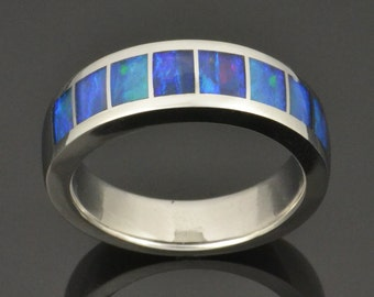 Australian Opal Ring Handmade in Stainless Steel by Hileman