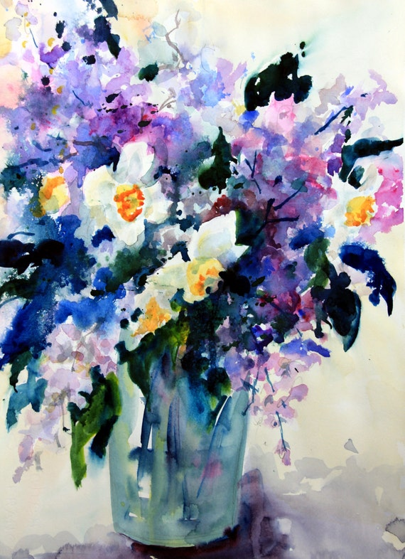 Narcissus and Lilacs - signed print - Bonnie White - Columbia Gorge artist - artist of the gorge - watercolor