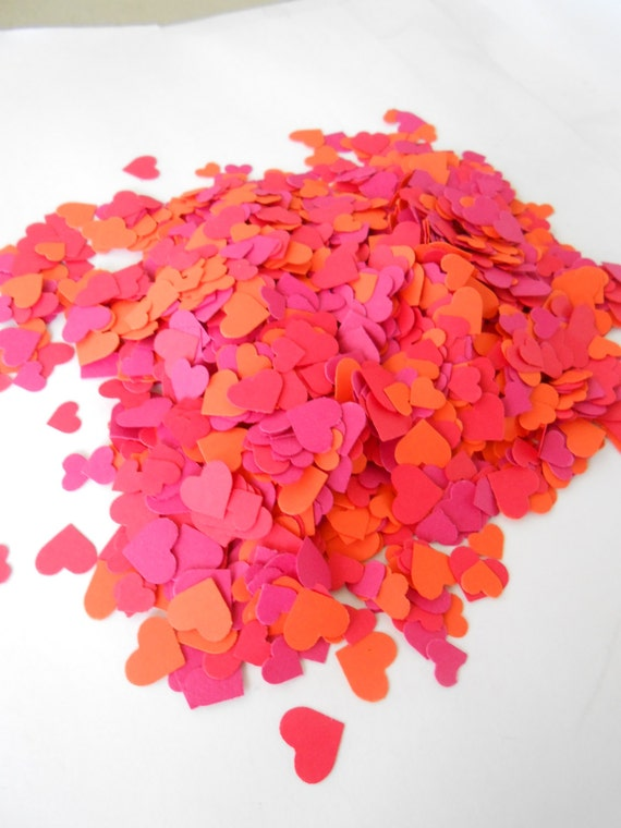 Over 2000 Mini Confetti Hearts. Pink & Orange. Weddings, Showers, Decorations. ANY COLOR Available. Coral