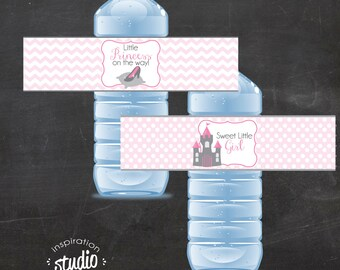 Little Princess On the Way and Sweet Girl Bottle Wrappers - INCLUDES 2 OPTIONS - Instant Download