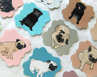 Pug Die Cut Collection - Eco-friendly Set of 12 - Scrapbooking Embellishment