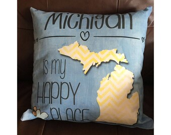 Michigan is My Happy Place in Blue and Yellow Throw Pillow