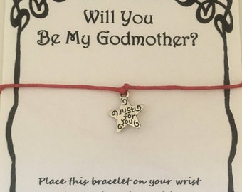 Will you be my Godmother, wish bracelet, charm, bracelet, Godmother card, thank you Godmother, various charms and colours