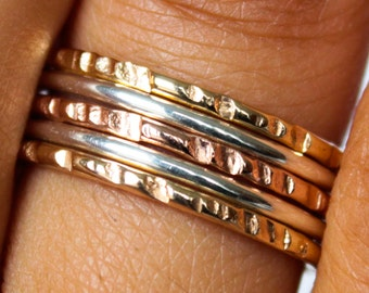 Tri Color Stack Rings 5 Band Stacking Ring Set Hammered Yellow Gold Rose Gold Band Sterling Silver Stack Ring Set Thumb Ring Set of 5 Rings