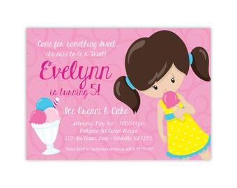 Ice Cream Invitation - Cute Pink Little Girls Ice Cream Party, Kids Ice Cream Personalized Birthday Party Invite - Digital Printable File