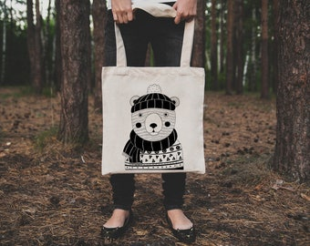 Bear tote bag. Organic cotton bear tote bag. Cute polar bear market bag