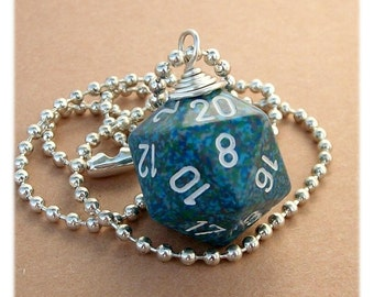 D20 Die Pendant -  Sea - Blue Green - Geek Gamer DnD Role Playing RPG - Paw & Claw Designs