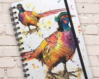 A5 Pheasant Print Hardback Spiral Bound Notebook