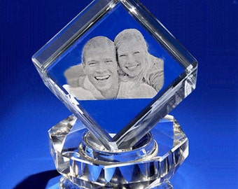 Laser Crystal Personalized Engraving, 3D Crystal Cube, Personlized photo Crystal, Picture in Glass Gift Set by Goodcount