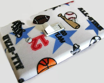 SPORTS ALL-STAR Light Switch Cover Plate Switchplate Sports Decor