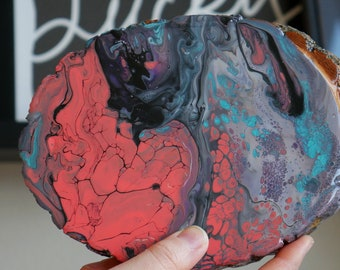 Abstract painting on wood