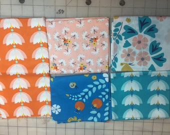 4 fat quarter bundle with 1 half yard- Lotus Pond- Cloud 9 Fabrics- Organic Cotton