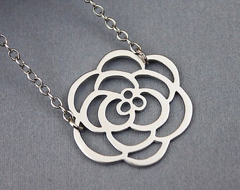 Matte Rhodium Camelia Flower Silhouette Pendant Necklace . Dainty Flower Charm Necklace Gift for Friends Birthday Gift