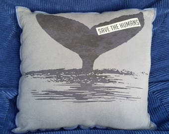 Save the Humans-Upcycled Safe-Sex Pillow, w/ Condom & Lube Pockets, OOAK, gray, black, whale, tail, zpg, ocean, water, marine, sea