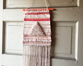 Cream Triangle with Peach, Mauve, Rose Gold Striped Handwoven Wall Hanging Fiber Art for Child's Room Baby Nursery Long Crimped Fringe