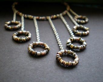 Bib Statement Necklace - Beach Wedding - Symmetrical Geometric Jewelry - Alternative Bridal Neck Piece - Rustic Necklace - Textured Circles