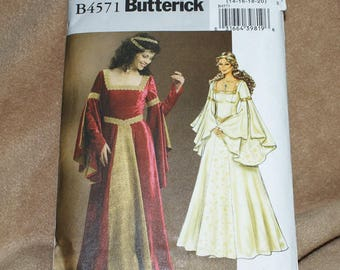Costume Pattern---Vintage Costume Pattern-Butterick B4571--Misses Long Princess Dress-Size 14 thru 20--Unused and Uncut--Original Package