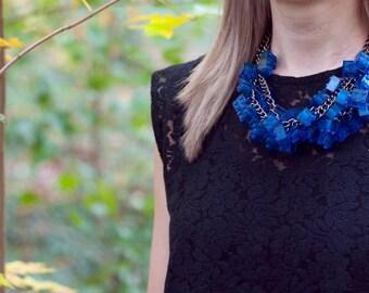 Blue transparent necklace