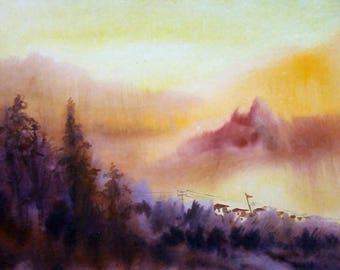 Beauty of Sunset Himalaya Mountain - Original Watercolor on Paper Painting,watercolor,paper,landscape,Himalaya