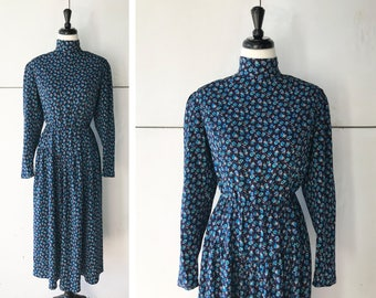 1980's Long Sleeve Midi Dress | Vintage Blue Floral Dress | 80's Women's Dress
