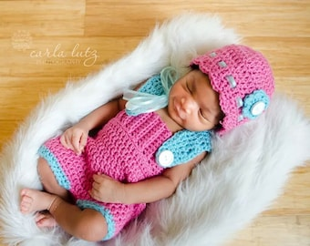 Newborn Overall Shorts with Bonnet
